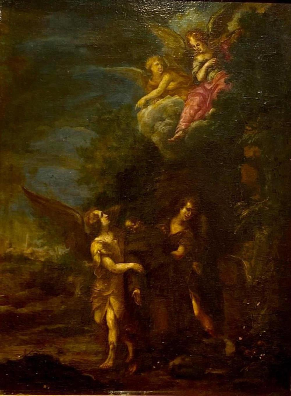 Old Master School Oil, St, Francis Consoled by Angels