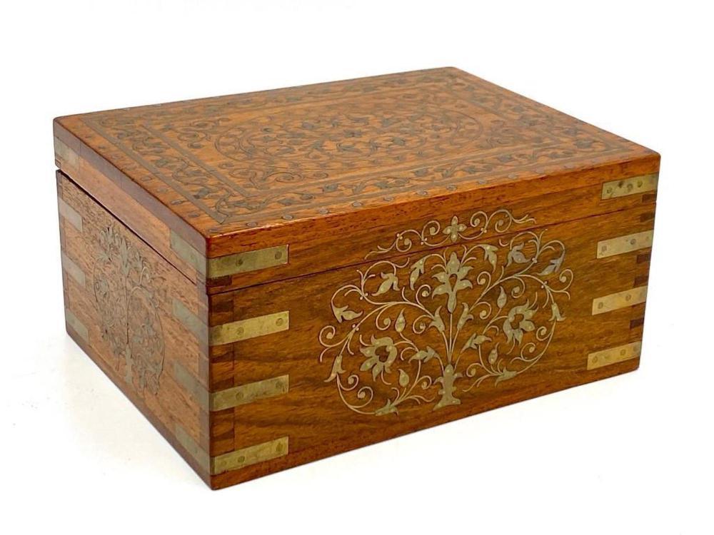 English Brass Inlaid Oak Box, 19thc.