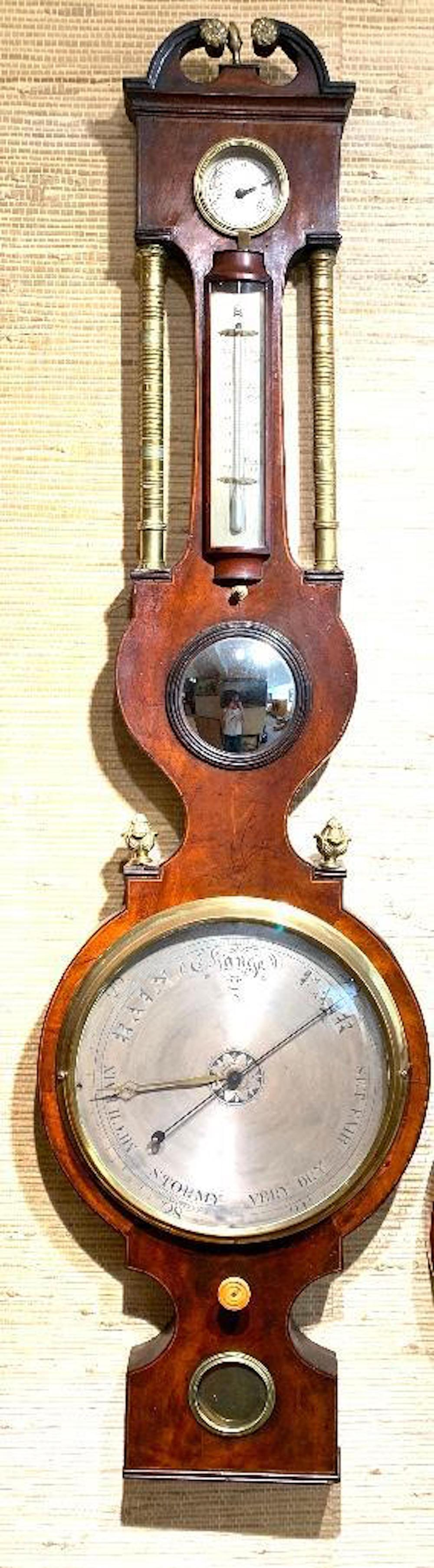P. Aggio English Regency Barometer, 19thc.