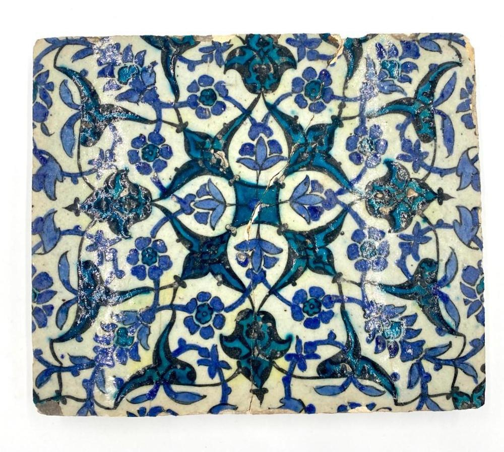 An Indian or Persian Glazed Architectural Tile