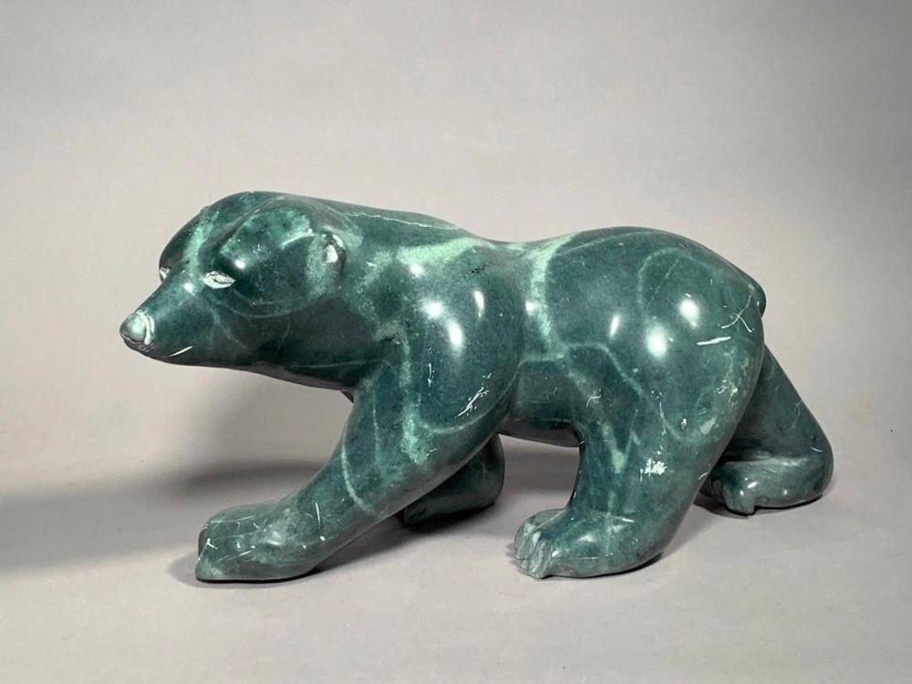 Morris Alorut Carved Stone Bear Figure