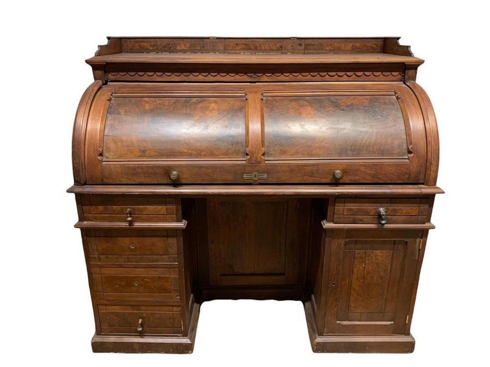 American Walnut Roll Top Desk, Early 20thc.