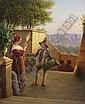 Johann Wilhelm Brucke 1800 Stralsund - 1874 Berlin auf einer Treppe uber der Stadt. Im Hintergrund Ausblick auf Rom. R. u. signiert und 1859 datiert. Ol auf Lwd. auf Sperrholzplatte. 46.5 x 38.5cm. Rest. - Rahmen., Johann Wilhelm Brücke, Click for value