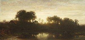 Dietrich Langko 1819 Hamburg - 1896 Munchen Dorf am Weiher im Abendlicht. L. u. signiert und 1878 datiert. Auf dem Keilrahmen auf altem Klebezettel betitelt