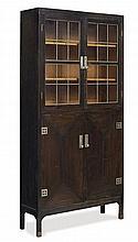 BOOKCASE, Munich and Hellerau, 1905. Oak and metal applications, 208 x 101 x 31 cm.