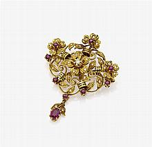 FLOWER BROOCH WITH DIAMONDS AND RUBIES