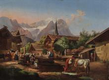 Peter von Hess (1792 Dusseldorf - 1871 Munich), attributed to - Morning in Partenkirchen