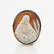 Brooch with shell cameo with St. Joseph and Child Jesus