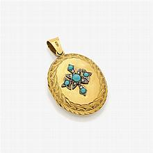 A medallion-pendant with seed pearls and turquoise cabochons