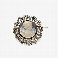 Brooch with sardonyx cameo and rose diamonds