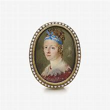 Brooch with a miniature portrait