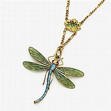 Art Nouveau collier with a dragonfly pendant with vitreous enamel