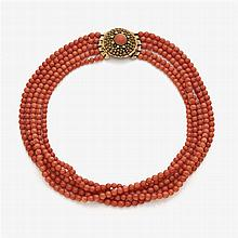 Five-stranded coral necklace