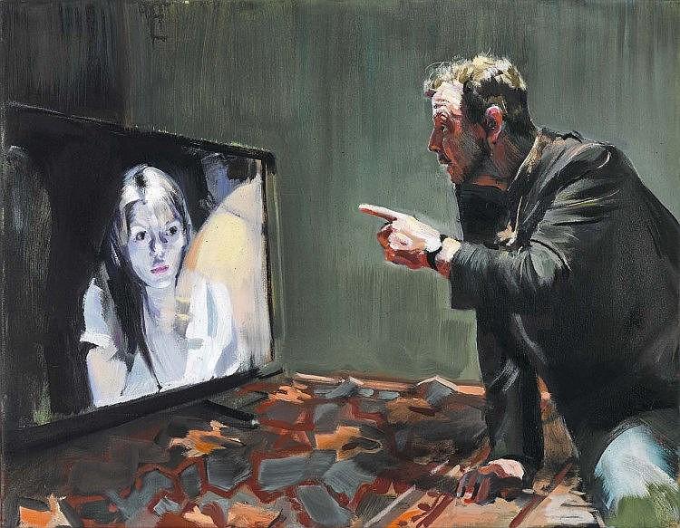 Fräger, Markus1959 Hamm - lebt in KölnDialog. 2015 Öl auf Leinwand 70 x 90