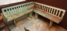 Antique pub corner bench