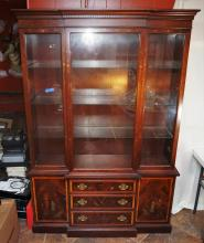 Asian decorated breakfront china cabinet by Hickory Furniture