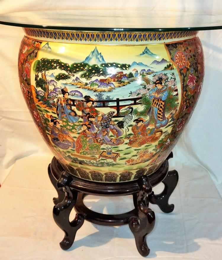 Large Chinese fish bowl planter table