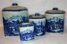 Blue and white canister set