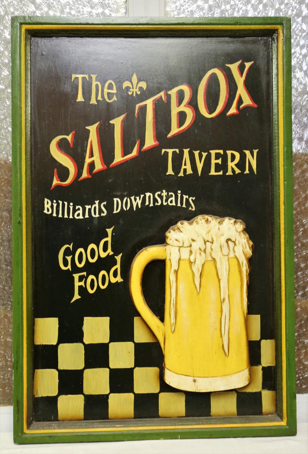 Saltbox tavern wooden sign
