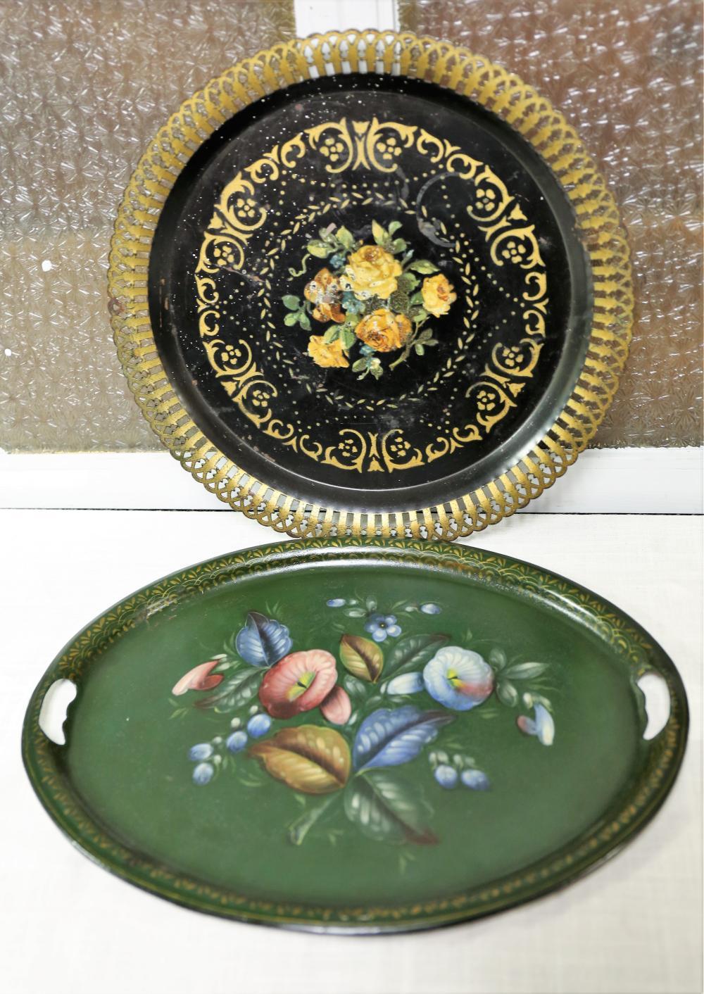 Pair of floral metal trays