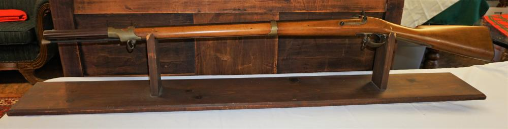 Replica Arms flintlock rifle on stand