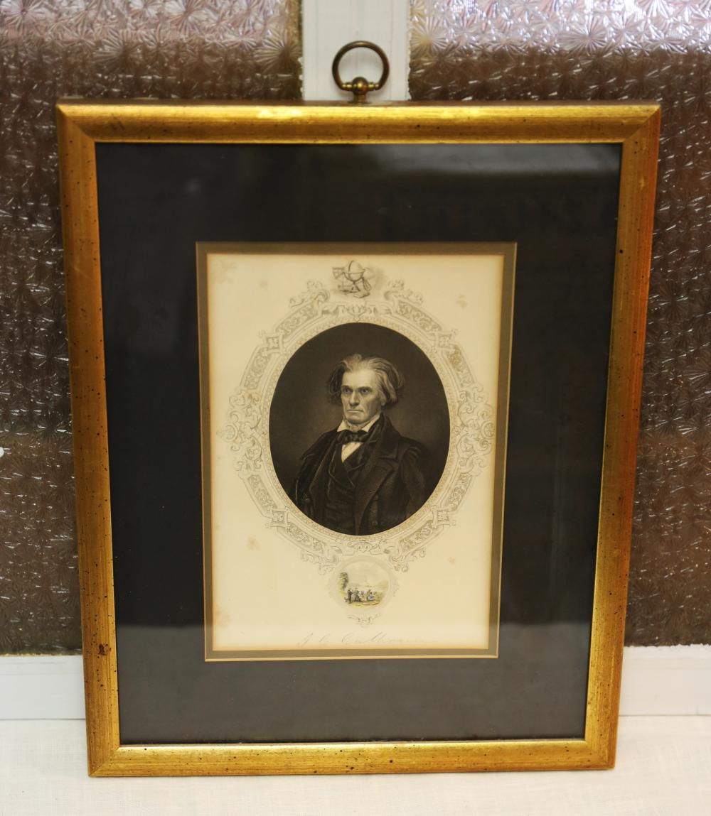 John C Calhoun framed portrait
