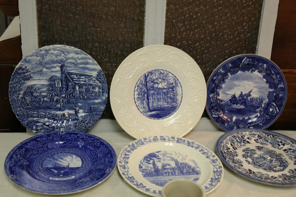 Blue and white commemorative plates
