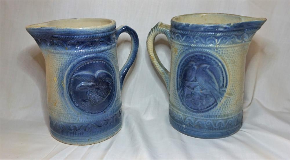 Blue and White salt glaze pitchers
