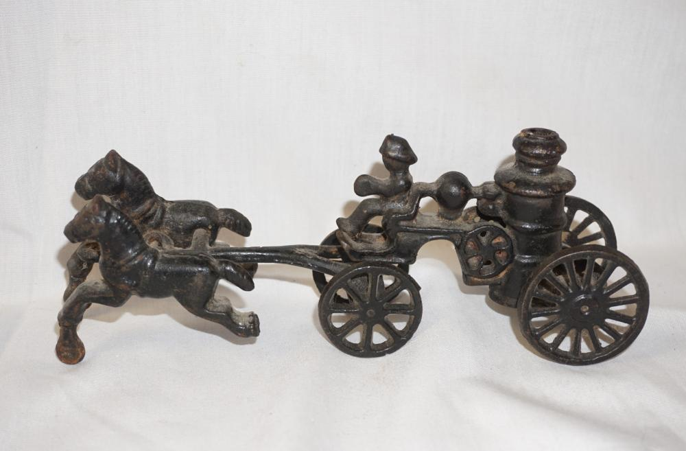 Cast iron horse and wagon