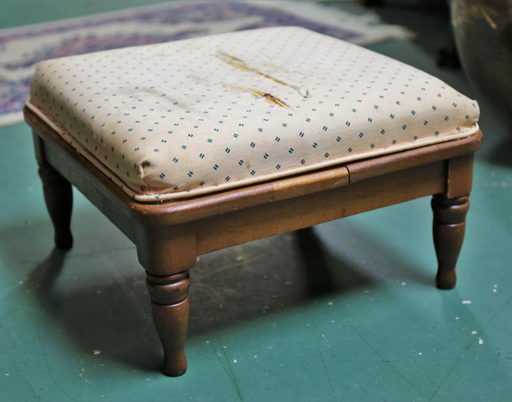 Wood Upholstered Foot Stool