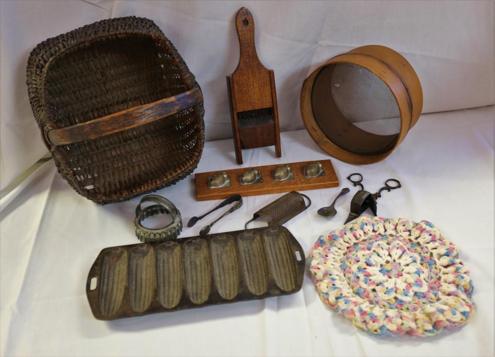 Antique kitchen tools assortment
