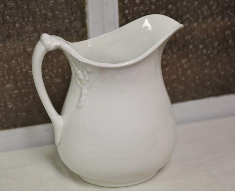 White granite ironstone pitcher