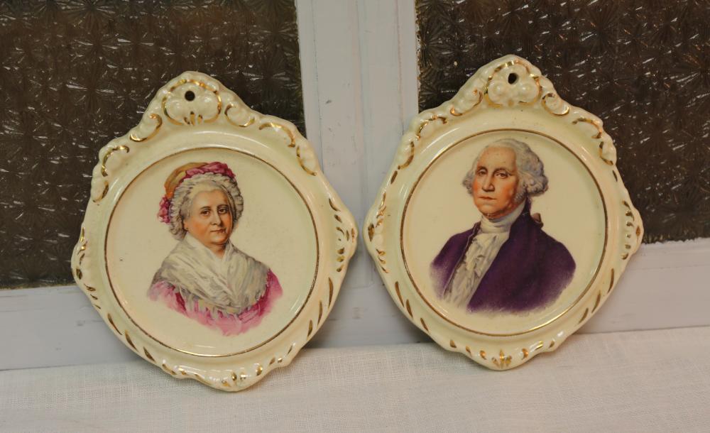 George and Martha porcelain plaques