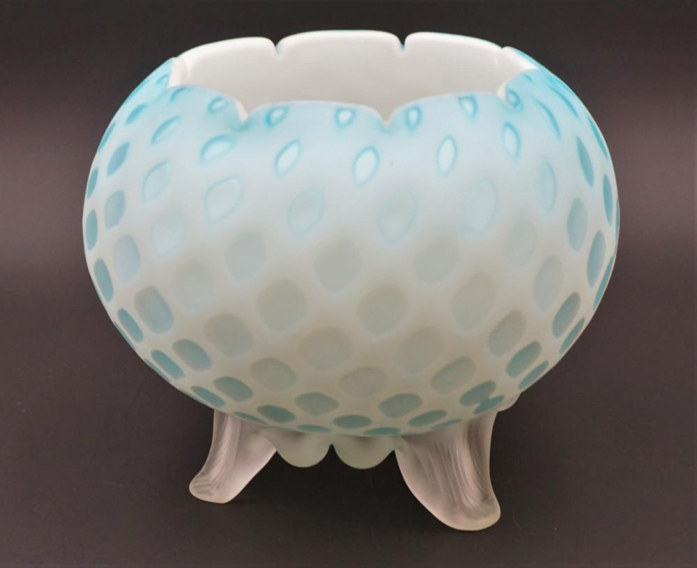 Quilted satin glass rose bowl