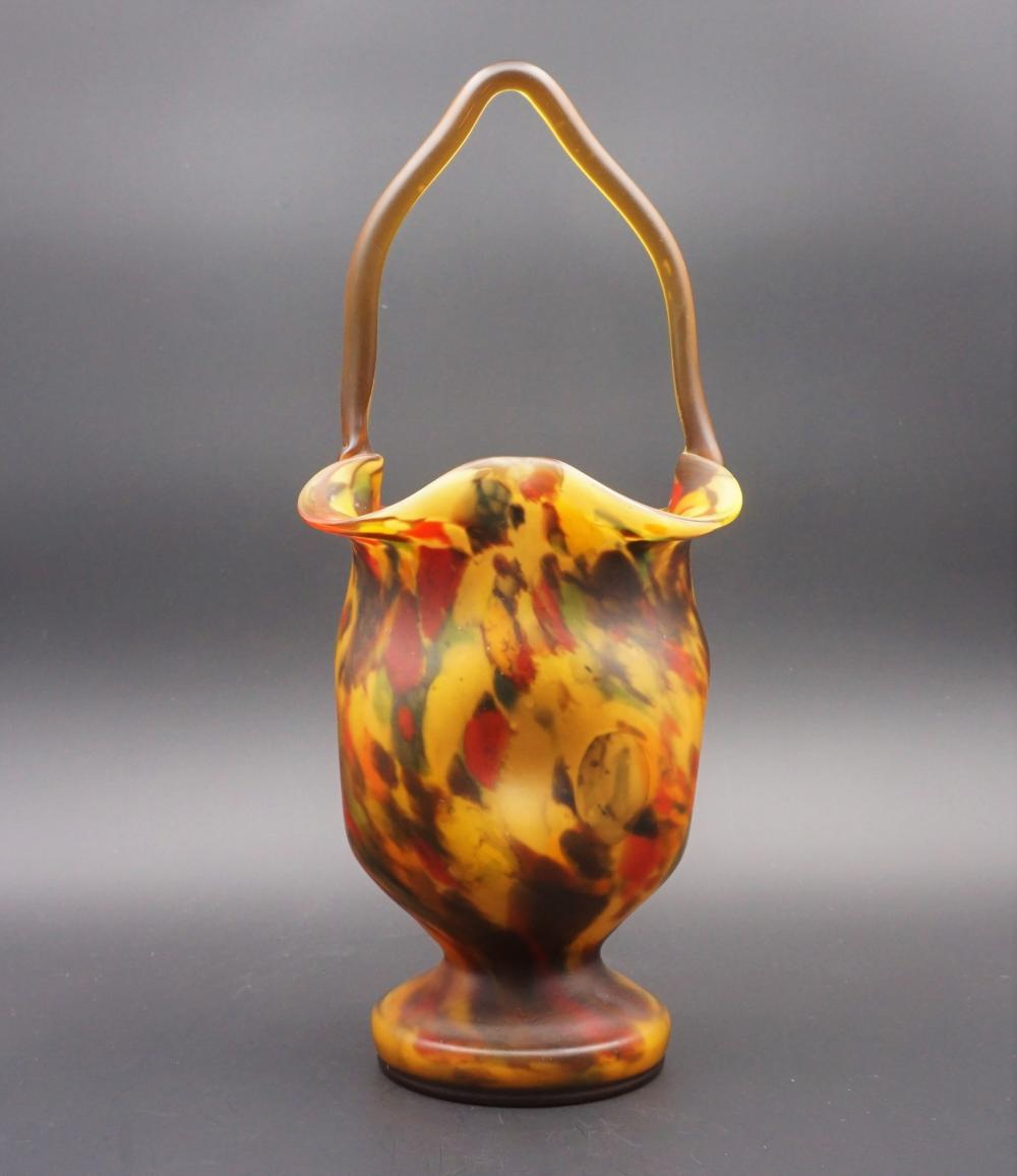Multicolor art glass basket