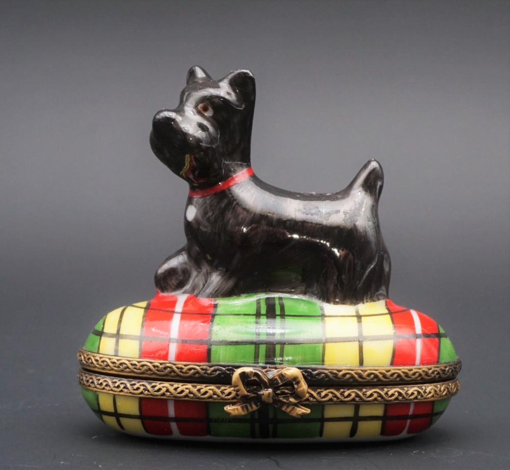 Limoges Peint Main Scottie dog trinket box