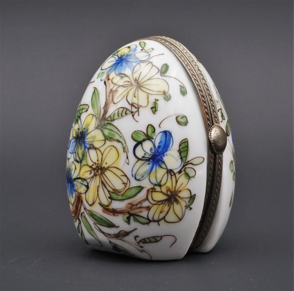 Limoges Peint Main standing egg with picture frame trinket box