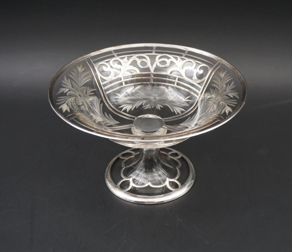 Sterling and cut glass compote