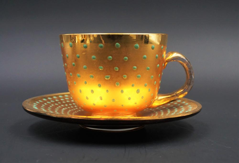Moser gilt and aqua blue bead teacup and saucer