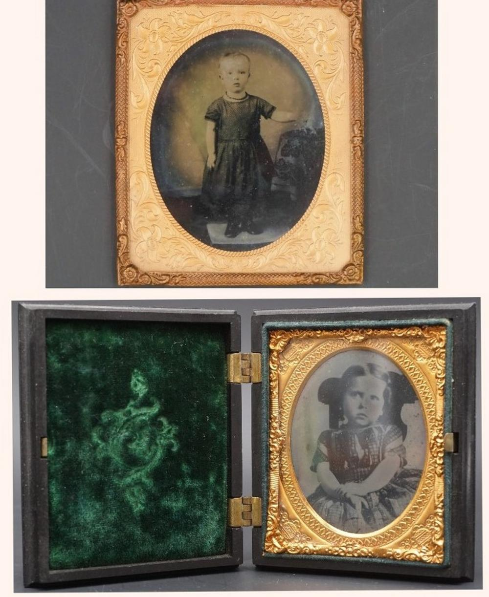 Antique daguerreotypes with children