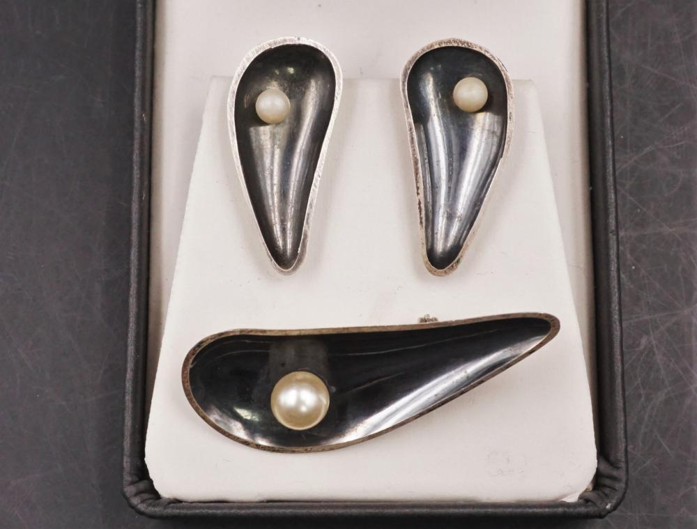 MCM sterling brooch and earring set