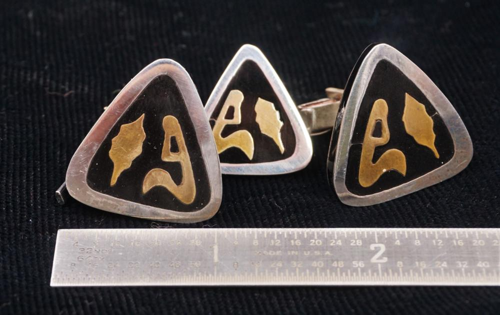 Modernist sterling, onyx, and brass men's jewelry set