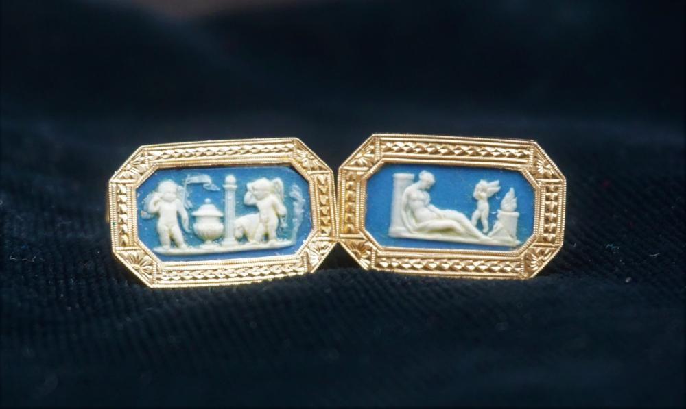 14k Jasperware men's cufflinks