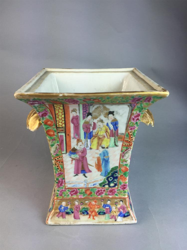 Chinese export porcelain rose manderain bough pot for Chinese furniture newcastle