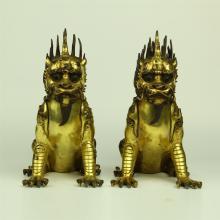 PAIR OF CHINESE GILT BRONZE FOO DOGS