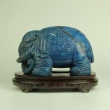 CHINESE LAPISE CARVED ELEPHANT WITH STAND