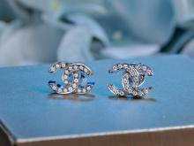 CHANEL LOGO 18K WHITE GOLD DIAMOND EARRINGS
