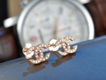 CHANEL LOGO 18K ROSE GOLD DIAMOND EARRINGS