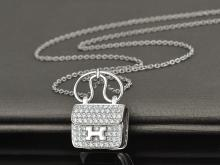 HEMES BAG 18K WHITE GOLD DIAMOND NECKLACE