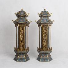 PAIR OF CHINESE CLOISONNE PAVILION